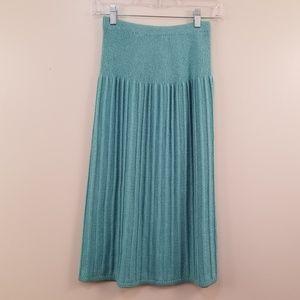 Vintage Aqua Blue Sweater Knit Midi Skirt Size 6